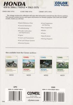 Honda CB450, CL450, CB500T - 450 & 500cc Twins 1965 - 1976 Workshop Manual Back Cover