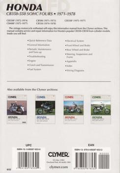 Honda CB350F, CB400F, CB500, CB550, CB550F SOHC Fours 1971 - 1978 Workshop Manual Back