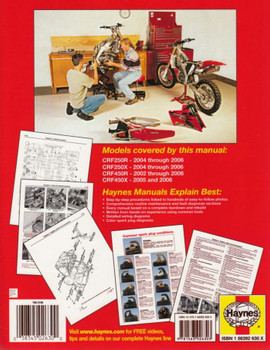 Honda CRF250, CRF450 Motocross & Off-road Bikes 2002 - 2006 Workshop Manual Back Cover
