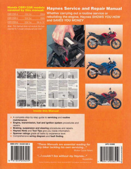 Honda CBR125R 2004 - 2007 Workshop Manual Back Cover