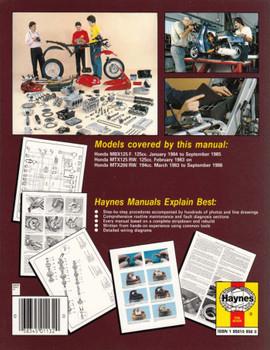 Honda MBX125, MTX125, MTX200 125cc, 194cc 1983 - 1992 Workshop Manual Back Cover