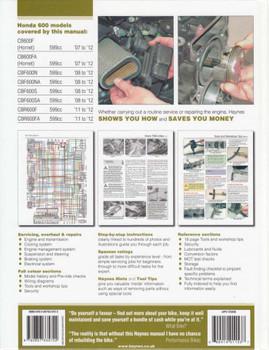 Honda CB600F Hornet, CBF600 & CBR600F 2007 - 2012 Workshop Manual Back Cover