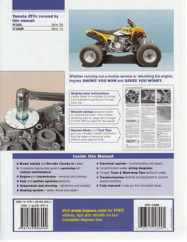 Yamaha ATVs YZF450 and YZF450R 2004 - 2010 Workshop Manual Back Cover