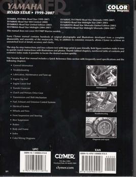 Yamaha Road Star Manual Back Cover