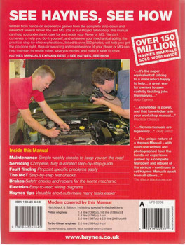 Rover 45 & MG ZS Repair Manual Back Cover