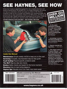 Rover 75 & MG ZT Workshop Manual Back Cover