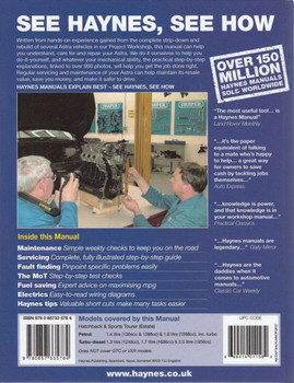 Vauxhall / Opel Astra Petrol & Diesel Workshop Manual Back Cover