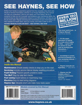 Ford Galaxy Workshop Manual Back Cover