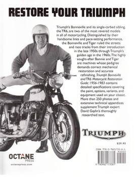 Triumph Bonneville & TR6 Motorcycle Restoration Guide Back Cover