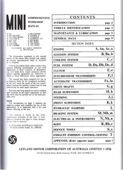 Mini All Models Comprehensive Workshop Manual Content