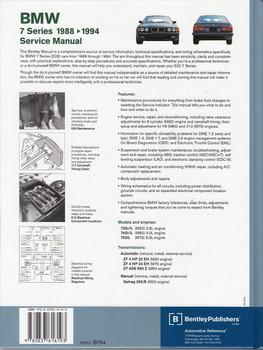 BMW 7 Series E32 735i, 735iL, 740i, 740iL, 750iL 1988 - 1994 Workshop Manual Back