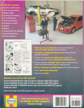 Toyota Camry & Aurion 2006 - 2013 Workshop Manual Back Cover
