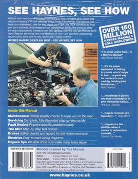 VW Golf 2009 - 2012 Petrol & Diesel Repair Manual Back Cover