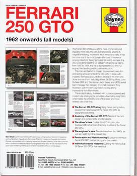Ferrari 250 GTO 1962 Onwards Owners' Workshop Manual Back Cover