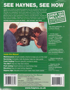 Ford Focus Petrol 1.0, 1.6  & Diesel 1.6 litre 2011 - 2014 Workshop Manual Back Cover