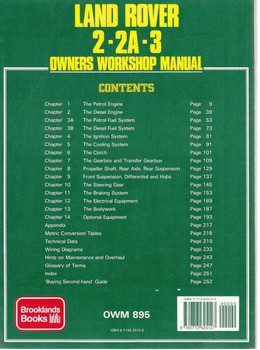 Land Rover 2, 2A, 3 Petrol & Diesel 4, 6 cylinder & V8 Owners Workshop Manual Back Cover