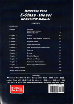 Mercedes-Benz E-Class W210 & W211 Series Diesel 2000 - 2006 Repair Manual Back Cover