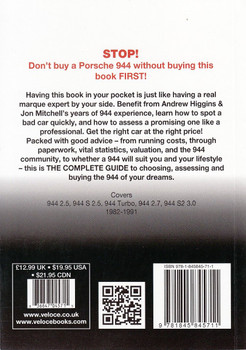 Porsche 944 All models 1982 - 1991: The Essential Buyer's Guide Back Cover