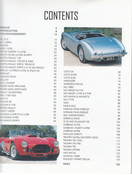 Classic British Sports Cars Contents