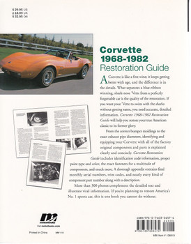 Corvette 1968 - 1982 Restoration Guide Back Cover