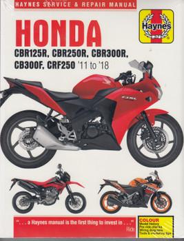 Honda CBR125 / 250R/ CBR300R, CB300F CRF 250 2011-2018 Service Manual (9781785214219)