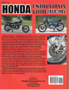 Honda Enthusiasts Guide : Motorcycles 1959-1985  - back