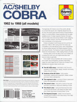 AC/Shelby / Cobra 1962 to 1968 (all models) Owners' Workshop Manual  - back