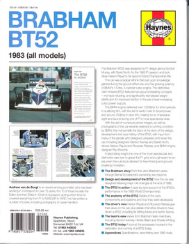 Brabham BT52 1983 (all models) Owners' Workshop Manual Back Cover