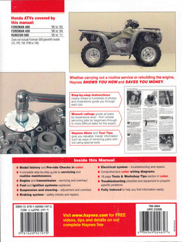 Honda ATVs Foreman and Rubicon 1995 - 2011 Workshop Manual (9781620921975) - back