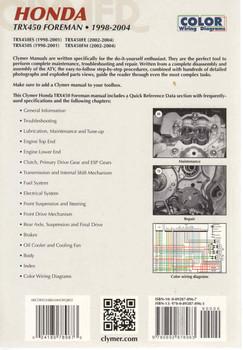 Honda TRX 450 Foreman ATV 1998 - 2004 Workshop Manual (9780892878963) - back