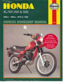 Honda XL / XR 250 & 500 1978 - 1984 Workshop Manual
