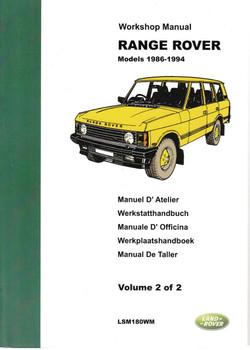 Range Rover Models 1986 - 1994 Workshop Manual (2 Volume Set) ( LSM180WM ) - front