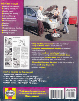 Toyota RAV4 1996 - 2012 Workshop Manual (9781620921043) back