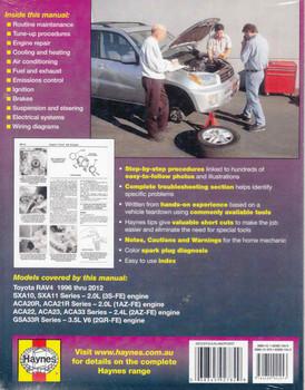 Toyota RAV4 1996 - 2012 Workshop Manual (9781620921043) back