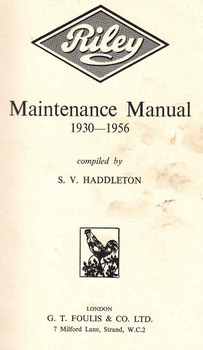 Riley Maintenence Manual 1930 - 1956 (B001102JPW)