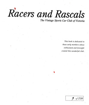 Racers And Rascals The Vintage Sports Car Club Of Victoria (9780957875920) - frontspiece