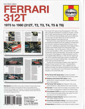Ferrari 312T 1975 To 1980 (312T, T2, T3, T4, T5 & T6) Owners' Workshop Manual (9780857338112) - back