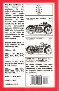 Book Of The BSA: All Models - SV & OHV Pre-war To 1939 ( Veloce Press 2008 Reprint) (9781588500465) -back