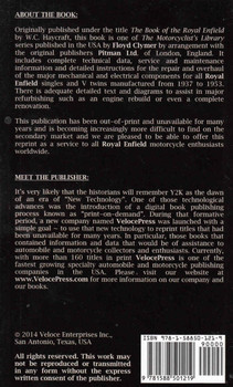 The Book Of The Royal Enfield Singles & V Twins 1937-1953 (Veloce Press 2014 Reprint) (9781588501219) - back