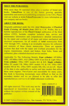 Ariel 1933 to 1951 All Single, Twin & Four Cylinder Models Illustrated Workshop Manual ( Veloce Press 2007 Reprint) (9781588500717) - back