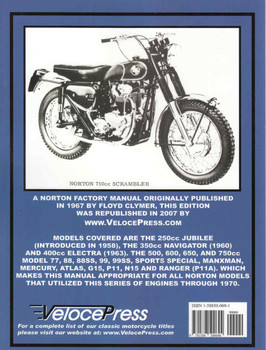 Norton Twin Cylinder Manual 1957 to 1970 (Veloce Press 2007 Reprint) (9781588500694) - back
