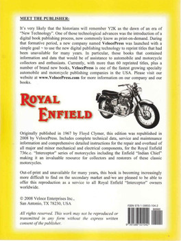 "Royal Enfield ""Interceptor: Workshop Manual ( Veloce Press 2008 Reprint) (9781588501042)"