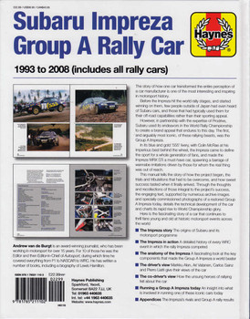 Subaru impreza Group A Rally Car 1993 - 2008 Owners' Workshop Manual
