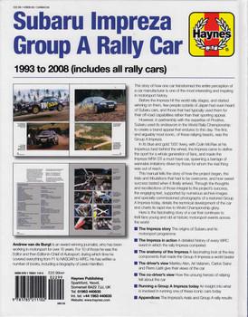 Subaru impreza Group A Rally Car 1993 - 2008 Owners' Workshop Manual