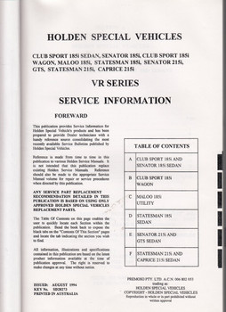 Holden HSV VR GTS Senator Clubsport Maloo Statesman Caprice Owner Service Manual