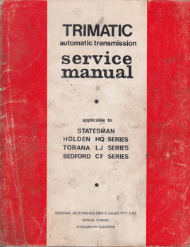 Trimatic Transmission Service Manual Holden HQ Torana LJ Bedford CF M37209
