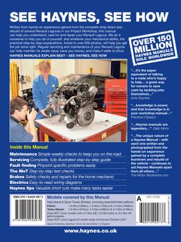Renault Laguna Petrol & Diesel (Feb 2001 - May 2007) (X to 54 reg) Haynes Repair Manual