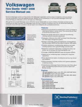 Volkswagen New Beetle 1998 - 2008 Incl. Convertible Service Manual (9780837615592)