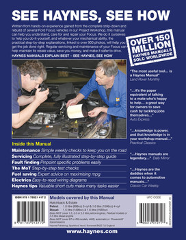 Ford Focus Petrol & Diesel 64 to 18 Oct 2014 - 2018 Haynes Repair Workshop Manual (9781785214172)