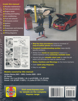 Holden Barina 2001 - 2005 & Combo 2005 - 2010 XC Series Petrol & Diesel Workshop Manual